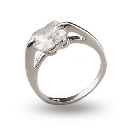 Solitare Cushion Cut CZ Sterling Silver Ring | Eve's Addiction