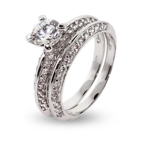 Domed CZ Wedding Set in Sterling Silver | Eve's Addiction®