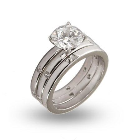 Classic Three Piece 2 Carat CZ Ring Set | Eve's Addiction®
