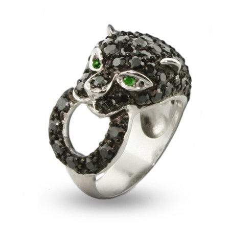 Shimmering Black Panther CZ Cocktail Ring | Eve's Addiction®