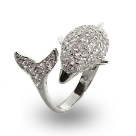 Sparking Diamond CZ Dolphin Wrap Cocktail Ring | Eve's Addiction®