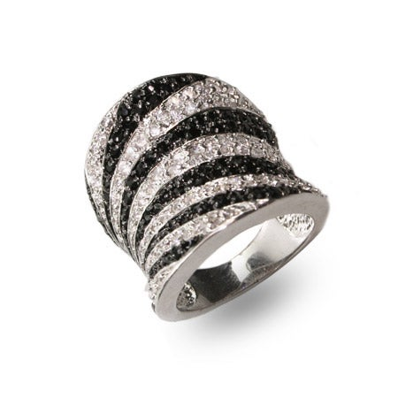 Designer Inspired Safari CZ Zebra Print Sterling Silver Ring | Eve's Addiction®