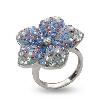 Blue & Lavender Swarovski Crystal Flower Ring | Eve's Addiction®