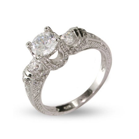 Three Stone Brilliant Cut CZ Engagement Ring | Eve's Addiction®