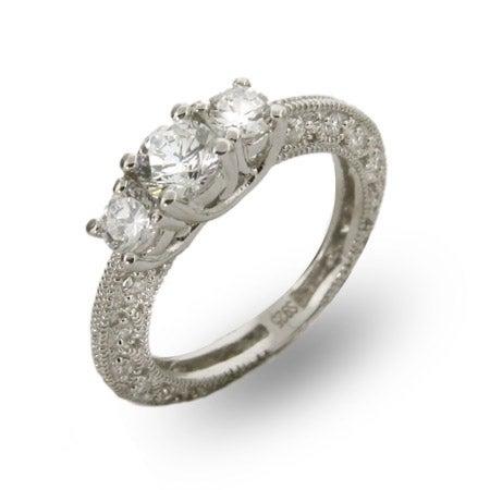 Three Stone Vintage Style CZ Engagement Ring | Eve's Addiction®