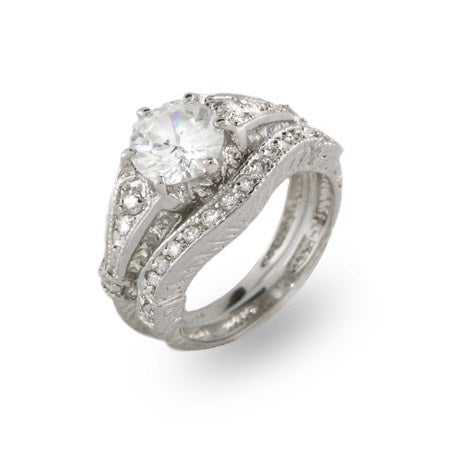 Dazzling 2 Carat Vintage Style Engagement Ring Set | Eve's Addiction®