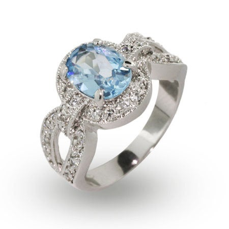 Vintage Deco Style Oval Cut Blue Topaz CZ Ring | Eve's Addiction®