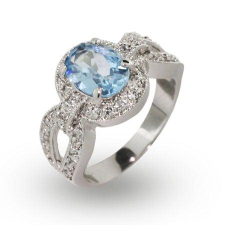 Vintage Deco Style Oval Cut Blue Topaz CZ Ring | Eve's Addiction®