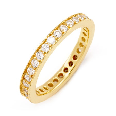 3mm Wide Gold Vermeil Stackable CZ Band with Millgrain Edging | Eve's Addiction®