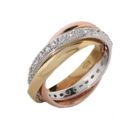 Triple Tone Russian Wedding Ring with CZ Band | Eve's Addiction®