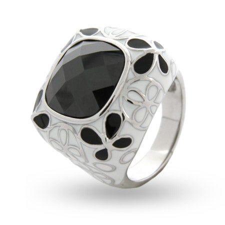 Black & White Butterfly Enamel CZ Ring