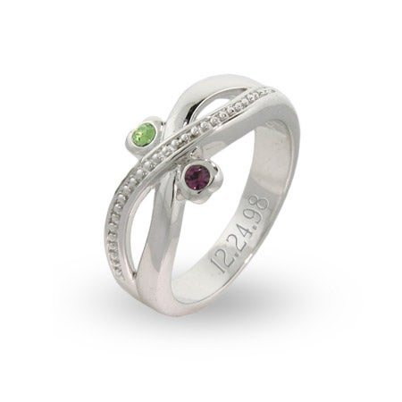 Couples Two Birthstone Engravable Infinity Designed Ring | Eve's Addiction®