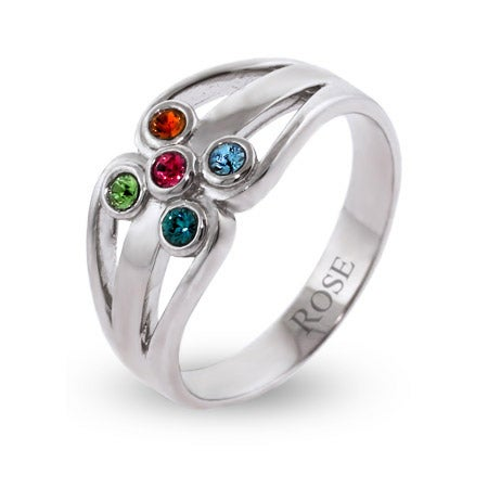 5 Stone Swarovski Crystal Family Birthstone Ring in Sterling Silver | Eve's Addiction®
