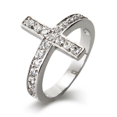 Sterling Silver CZ Sideways Cross Ring | Eve's Addiction