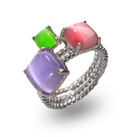 Designer Style Pastel Gemstone Sterling Silver Stackable Ring Set | Eve's Addiction®