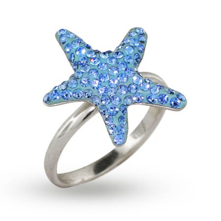 Light Blue Swarovski Crystal Starfish Ring | Eve's Addiction®