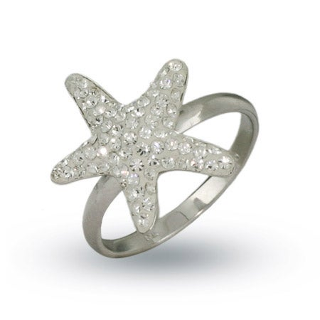 Designer Style Sterling Silver Swarovski Crystal Starfish Ring | Eve's Addiction®