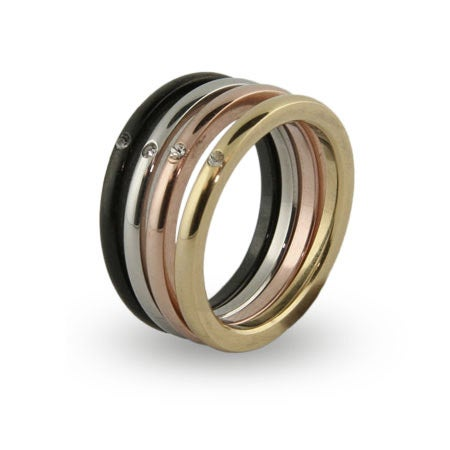 Four Tone Stackable Single CZ Ring Set | Eve's Addiction®