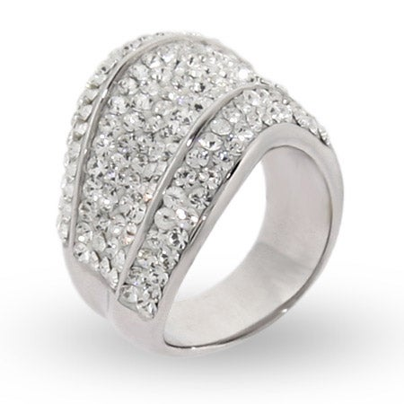 Glistening Swarovski Crystal Sterling Silver Wave Cocktail Ring | Eve's Addiction®