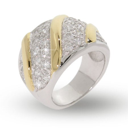 Designer Inspired Silver Sparkling  CZ Pave Gold Bar Ring | Eve's Addiction®