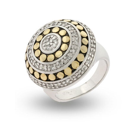 Designer Inspired Gold Dotted CZ Sterling Silver Ring | Eve's Addiction®