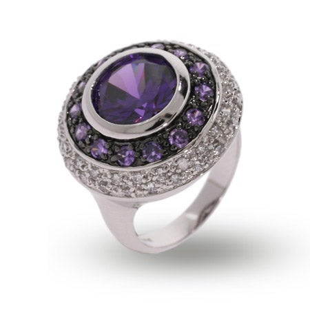 Designer Style Multi Circle Amethyst and CZ Cocktail Ring | Eve's Addiction®