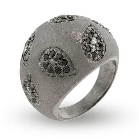 Sterling Silver Black CZ Paisley Satin Design Ring | Eve's Addiction®