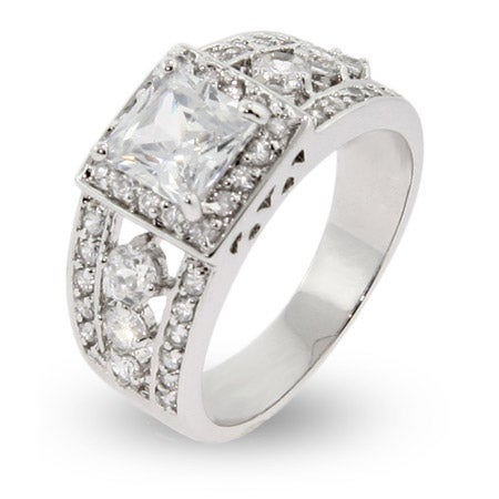 Elaborate Sterling Silver & CZ Princess Cut Ring | Eve's Addiction®