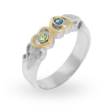 Two Hearts Austrian Crystal Birthstone Couple Ring in Sterling Silver | Eve's Addiction®