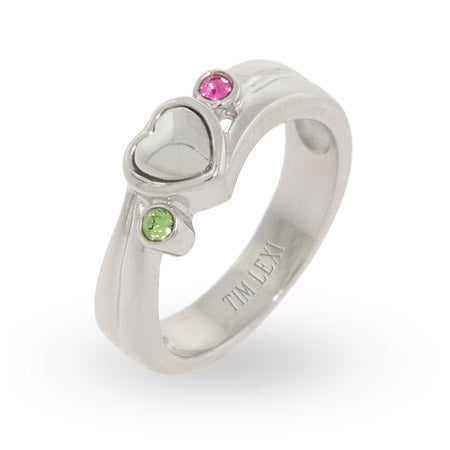Solid Heart Swarovski Crystal Silver Couples Promise Ring | Eve's Addiction®