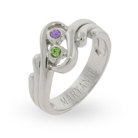 Swirling Couples Promise Ring with Swarovski Crystals | Eve's Addiction®