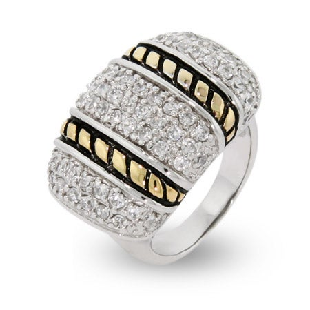 Designer Inspired Sparkling Pave Ring with Cable Design | Eve's Addiction®