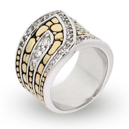 Designer Inspired Golden Bali Style CZ Wrap Ring | Eve's Addiction®