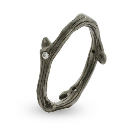 Thin Tree Branch Sterling Silver Ring with Cubic Zirconias | Eve's Addiction®