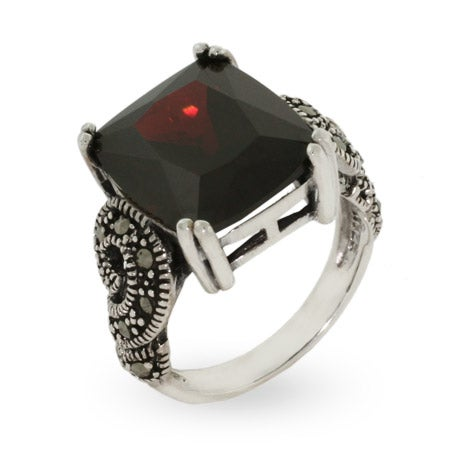 Emerald Cut Garnet CZ Marcasite Ring  in Sterling Silver | Eve's Addiction®
