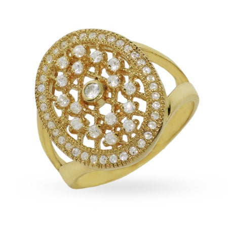 Vintage Gold Vermeil CZ Engagement Ring | Eve's Addiction®