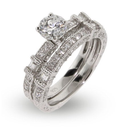 Contemporary Style CZ Engagement Ring Set |Eve's Addiction