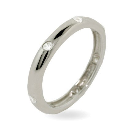 Designer Style Twinkling Stackable Wedding Band