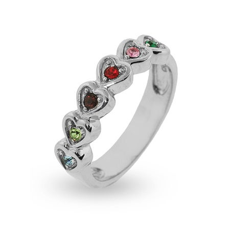 6 Birthstone Band of Hearts Engravable Ring | Eve's Addiction®
