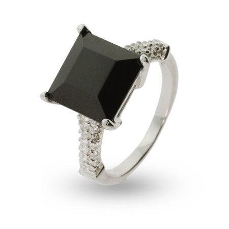 Princess Cut Black Onyx Cz Sterling Silver Ring | Eve's Addiction®