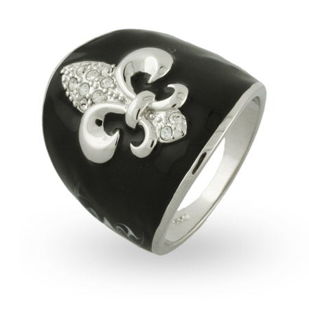 Black Enamel CZ Fleur de Lis Ring | Eve's Addiction®