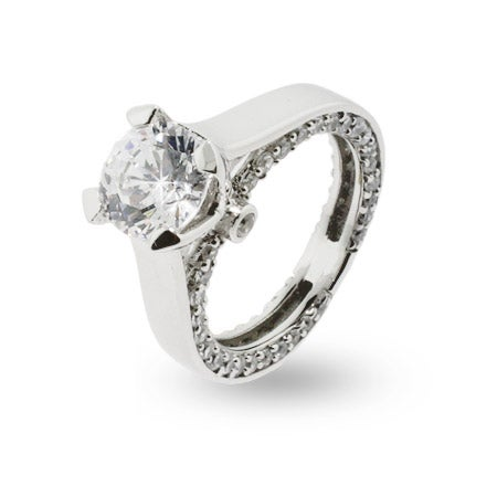 Romantic Brilliant Cut CZ Sterling Silver Engagement Ring | Eve's Addiction®