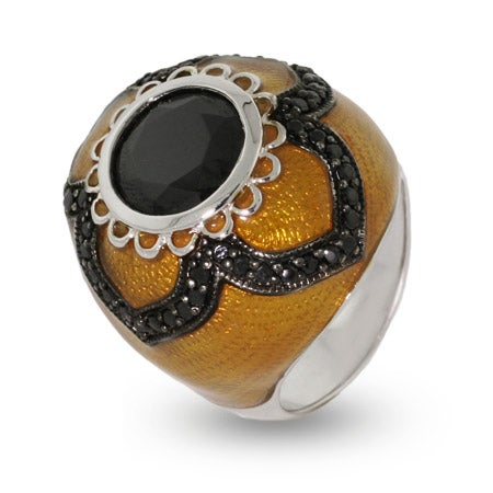 Victorian Style Black and Gold Lace Cocktail Ring   Eve's Addiction®