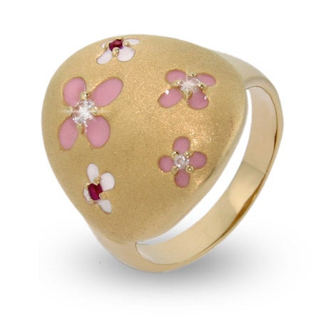 Gold Vermeil Pretty Pink Flower Enamel Ring | Eve's Addiction®