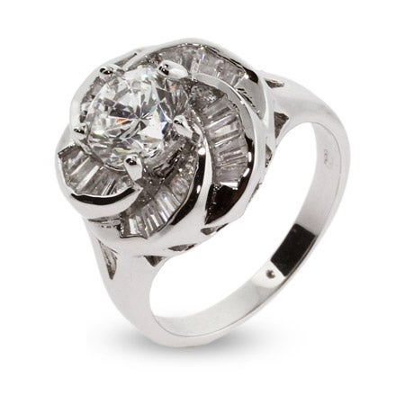 Sparkling Baguette Cut CZ Rose Ring | Eve's Addiction®