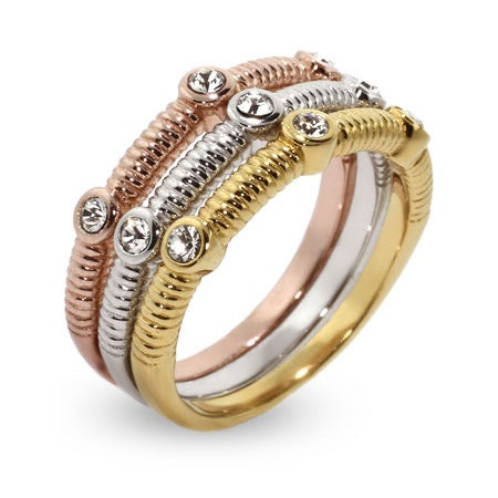 Sterling Silver Three Tone CZ Stackable Ring Set | Eve's Addiction®
