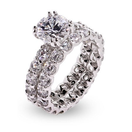 Brilliant Cut 9mm CZ Sterling Silver Engagement Set | Eve's Addiction®