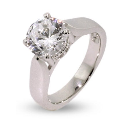 Classic Solitaire CZ Sterling Silver Engagement Ring | Eve's Addiction®
