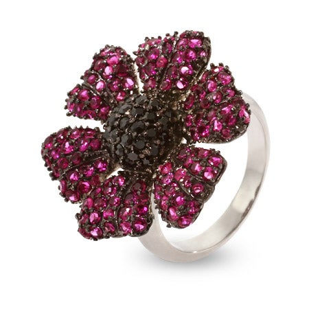 Magenta Flower Sterling Silver CZ Cocktail Ring | Eve's Addiction®