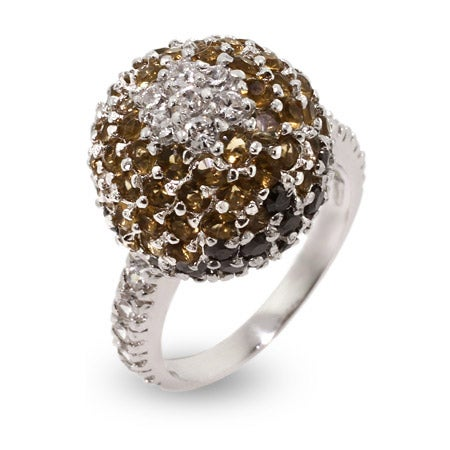Champagne CZ Sterling Silver Fireball Ring | Eve's Addiction®